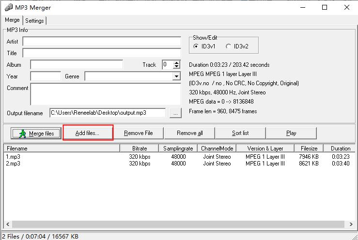 MP3 MergerのAdd files