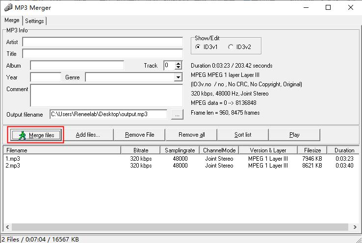 MP3 Mergerのmergefiles