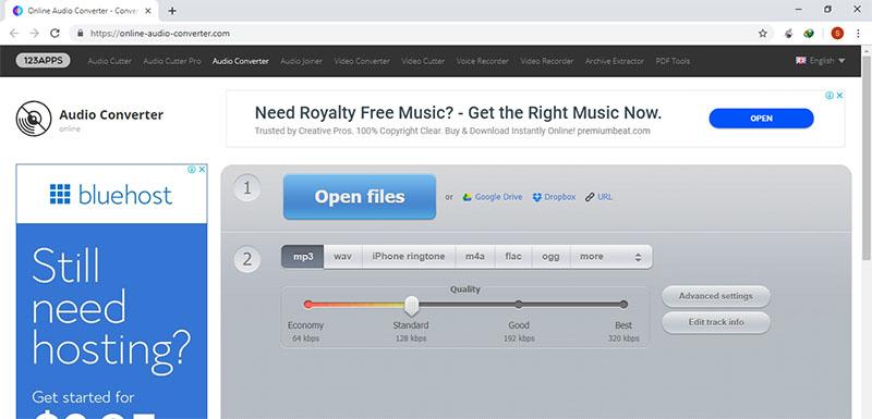 Online Audio Converterでオンライン変換