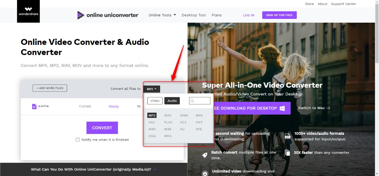 Online UniConverter出力形式指定して変換