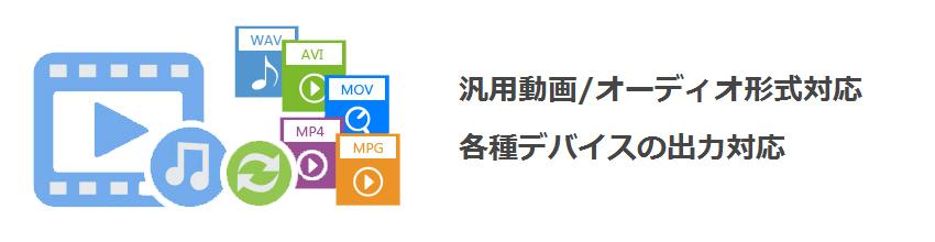 汎用動画/オーディオ形式対応。各種デバイスの出力対応。