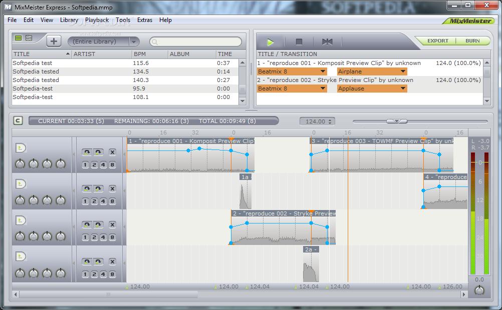 MixMeister Expressソフトで音楽ミックス