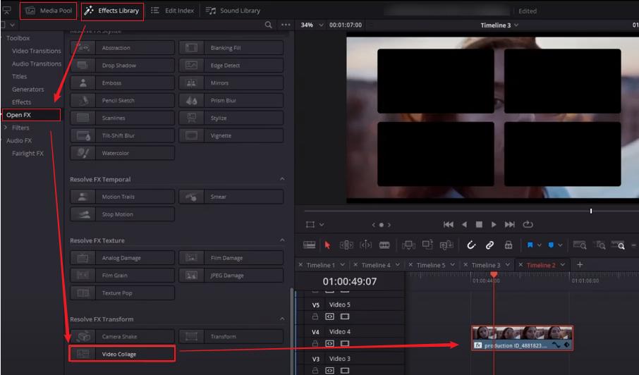 DaVinci Resolveに動画を追加