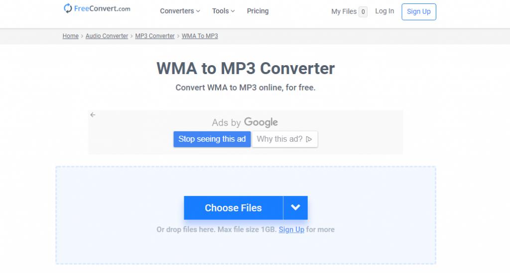 FreeConvert.comでWMAをMP3に変換