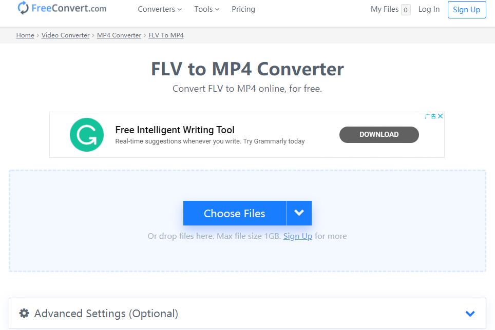 Free ConvertでFLVをMP4に変換